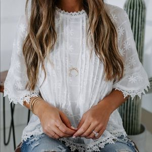 VICI collection 🌴 Embroidered Crochet Blouse